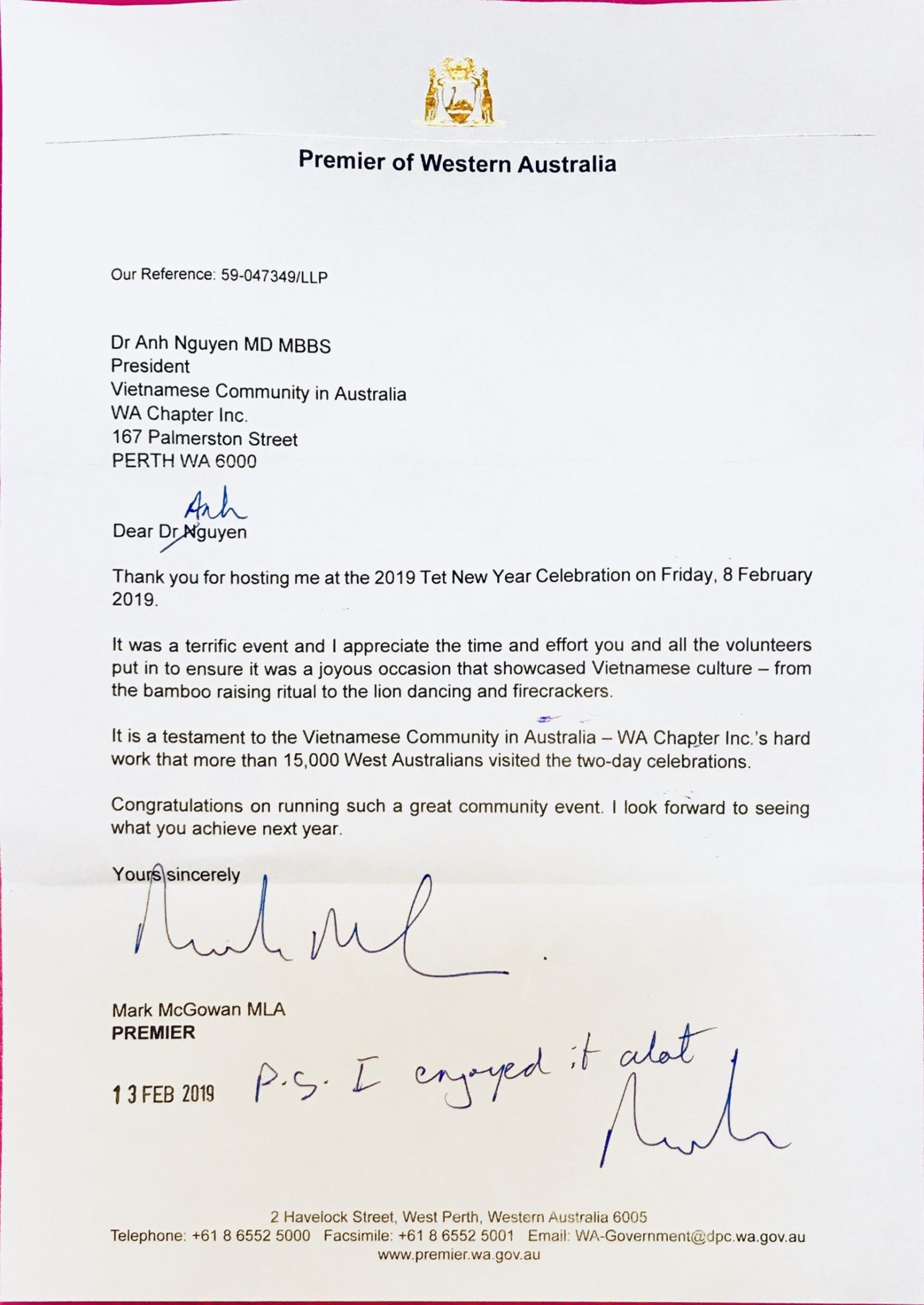 letter from the premier of WA